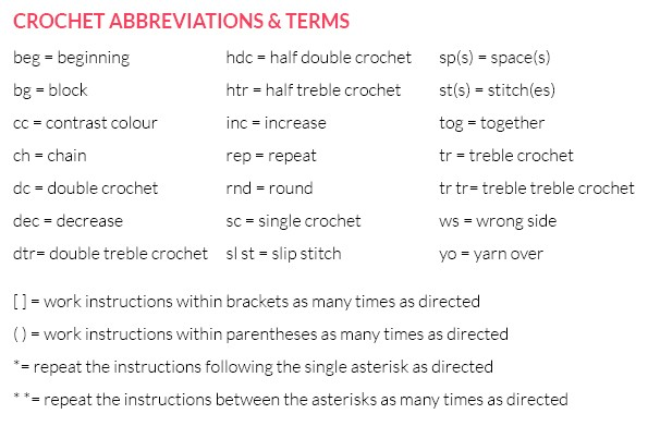 crochet abbreviations and instructions