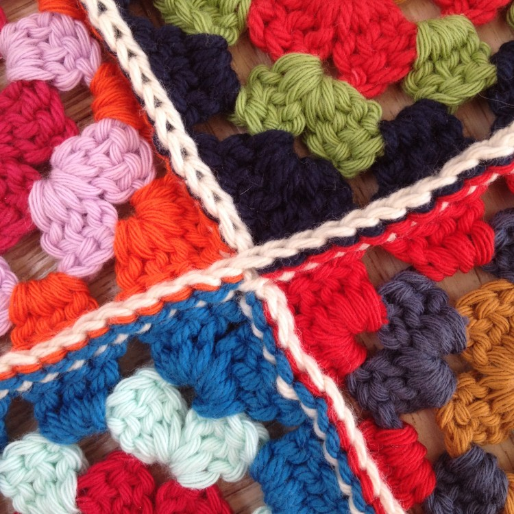Slip stitching the squares together