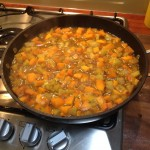 Mix in with potato, butternut squash, onion and then add stock